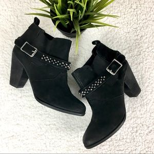 Steve Madden Black suede boots with studded strap.